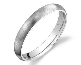 Platinum 950 Band (3mm) / PLAIN / Matte Brushed Rounded Dome + Comfort Fit / Men's Women's Wedding Ring Simple Thin PT950