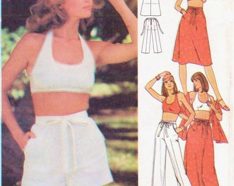 1970s Womens Halter Top, Skirt in 2 Lengths, Pants or Shorts and Stole Butterick Sewing Pattern 4854 Size 12 Bust 34 UnCut