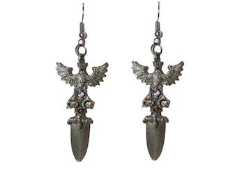 Vintage Falcon Sword Knife Earrings - Vintage sword weapon falcon eagle knife earrings silver jewelry gothic unique strange