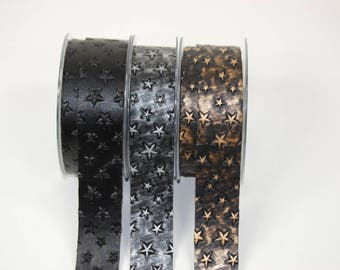 Embossed black leatherette band stars 30 mm 3 finishes