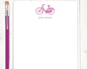 personalized notePAD - VINTAGE GIRLS BICYCLE - women's bike - stationery - stationary - girls bike - choose ink and envelope color
