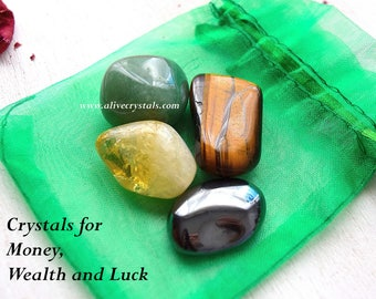 Healing Stones for Money Attraction, Attract Money, Powerful Crystals Set Wealth Stones, Prosperity Abundance Positive Energy Crystals Luck