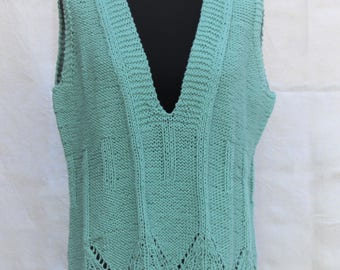 Knit Tank Top, light mint green, summer must-have, spring Vest, in cotton,  made to order in any colour