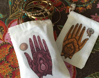 Mehndi Ceremony WEDDING Shower Favor Bags | South Asian Indian Bridal Shower | Muslim Henna Engagement Deluxe | 3x5 4x6 6x8 | Sets of 10