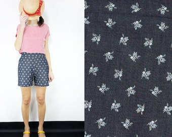 Handmade Denim Flowers Printed Cotton High Waist Shorts, Small, Medium, Large [Cate shorts/denim flowers]