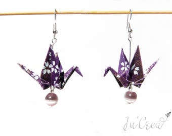 Origami crane earrings violet