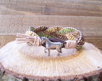 Rustic Horse Beaded Braided Leather Wrap Cuff Bracelet, Horse Bracelet, Horse Jewelry, Leather Jewelry, Rustic Cuff, Leather Cuff Bracelet