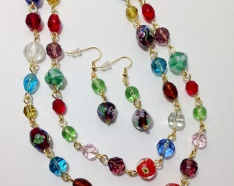 Extra Long Necklace, Multi Color Glass, Faceted Glass, Lampworked Glass, Non Tarnish Gold Tone Wire, Necklace, Earrings