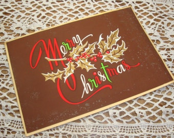 Vintage Brown Merry Christmas Greeting Card, Holiday Card, Retro   (415-15)