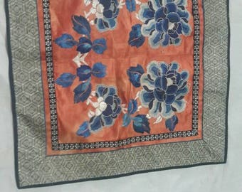 Antique chinese silk rare hand embroidered forbidden stitched textile wall hanging dynasty sign