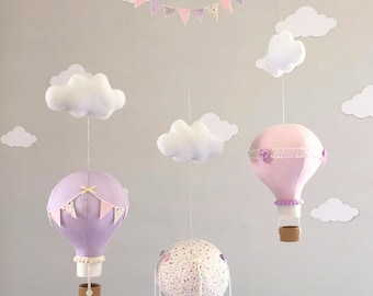 SPECIAL PRICE! Hot air balloon mobile, Baby mobile, Nursery decor, Pastel nursery, Baby shower gift