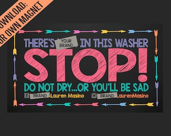 LLR Customized Washer Magnet Digital Download | JPEG only | Print your own personalized magnets for customers | Washing machine warning