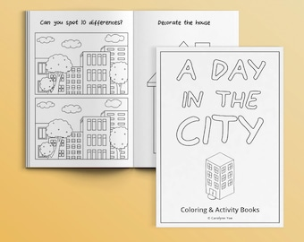 A Day in the City [INSTANT DOWNLOAD] - Activity Book for Kids - printable, coloring page, DIY, party favors, games, children, birthday, art