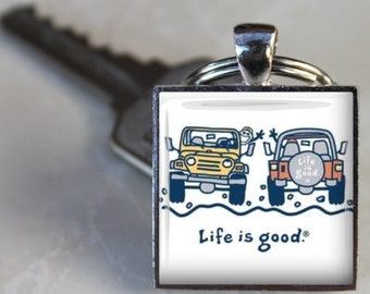Life is Good JEEP WAVE Wrangler Off Road It's a Jeep Thing 4WD Soft top off road Altered Art Keyring Keychain