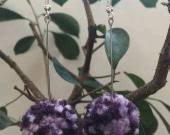 Lilac and Violet Pom Pom earrings