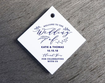 Calligraphy Wedding Favor Tags Thank You Wedding Tags Die-cut Paper Hang Tags Custom Gift Tags wedding decor Square Gift Tags Welcome Tags