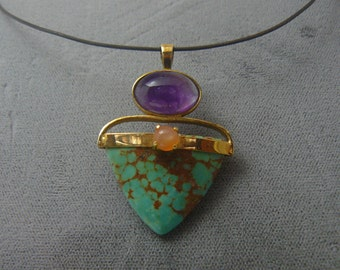 Turquoise Amethyst Peach Moonstone Sterling Silver Gold Pendant