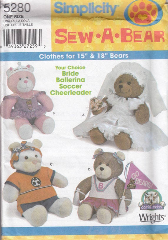 Simplicity 5280 Bears Clothing Sewing Pattern - Teddy Bear Clothing ...