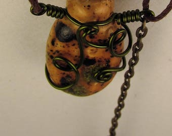 Oil Diffuser Necklace  Hand Sculpted OoAK  (AQ)