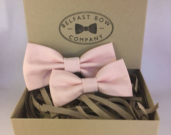 Handmade Father & Son Bow Tie Gift Set in Pale Pink