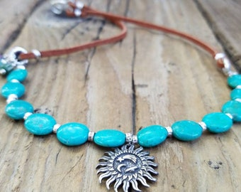 Turquoise Necklace and Hill Tribe Silver, Sterling Silver Astrological Pendant, African Trade Bead, December Birthstone, Suede Necklace