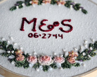 Initials and Date Floral Embroidery Hoop