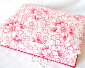 red fabric jewelry box fabric covered box red trinket box vintage fabric french fabric red floral vintage fabric box