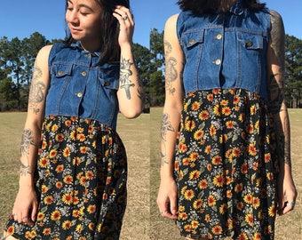 Vintage Floral Sunflower and Denim Sleeveless Summer Dress | xxs | xs