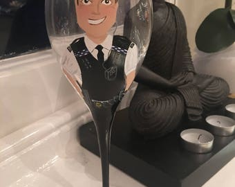 PERSONALISED UK Police Officer Hand-Painted Wine Glass Gift Idea Birthday Police Man British For Dad Brother Son Uncle Friend Police