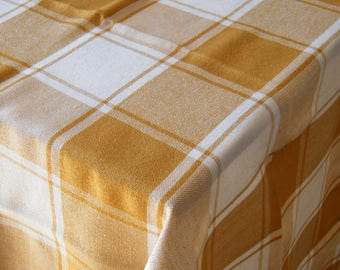 Retro Checkered Tablecloth. White And Brown Panes. Size 113*119 Cm Latvia