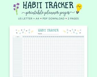 Habit Tracker, Daily Habits Planner, Goal Tracker, Self Care, Goal Planner, Daily Habit Tracker, Habit Printable, Habit Tracker PDF, Planner
