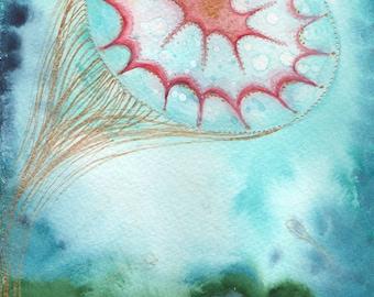 "Aquatic Solitude Original 6""x 9"" watercolor painting"