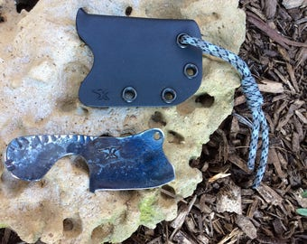 Exceptional hand forged micro  cleaver  knife with Kydex sheath