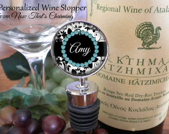 SALE! Personalized Wine Stopper - BW Floral - Bridal Party Gift- Birthday Gift - Bridesmaid Gift - Housewarming Gift- Cyber Monday
