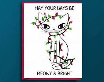 Cat Christmas Card, Meowy and Bright, Christmas Cat, White Cat, Christmas Lights, Greeting Merry and Bright, Cat Puns, Christmas Puns, Cats