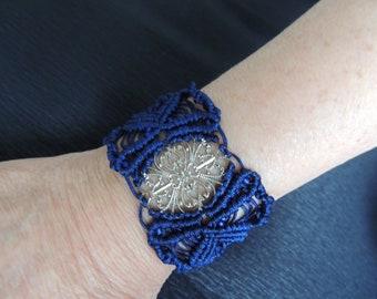 Cuff bracelet  in macrame dark blue