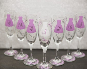 Bride and Bridesmaids champagne flute glasses, Personalized Maid of honor and Bride flutes.  Choose your own quantity