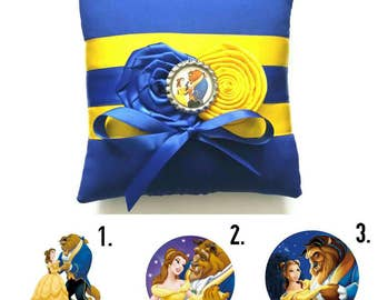 Beauty and the Beast Wedding Ring Pillow- (6x6 inch pillow)- Your choice of embellishment