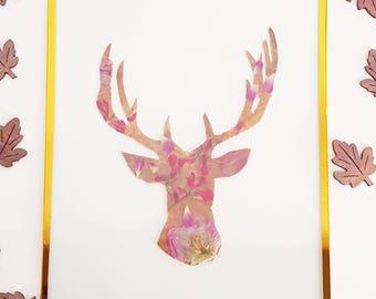 Frame Herbarium dried flowers, deer head