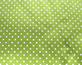 Cotton fabric with polka dots 50 x 70 cm lime and white