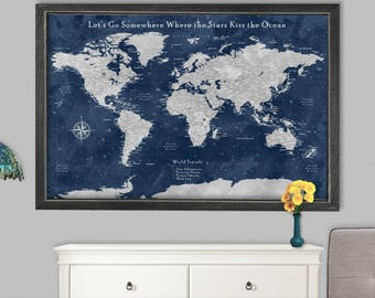 World Pushpin Map World Travel Map Pin Board Push Pin Travel Map Canvas Push Pin Travel Maps Panels Personalise Anniversary Gift for Parents