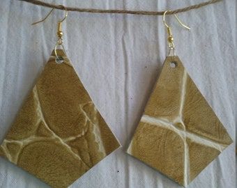 Leather Earrings Pierced or Clip On Animal Print Double sided
