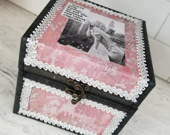 Decorative storage box, Marilyn Monroe mini-chest, Gift, Bedroom storage