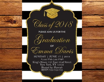 Graduation Invitation, College Graduation Invitation, Class of 2018, High School Graduation Party Invitation, Black & White Stripe 8