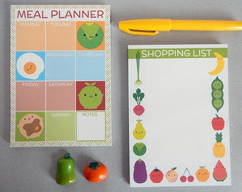 Kawaii Meal Planner and Shopping List - Set of 2 Magnetic Fridge Pads  for Meal Planning and Groceries - Foodie Gift - Fruit & Vegetables