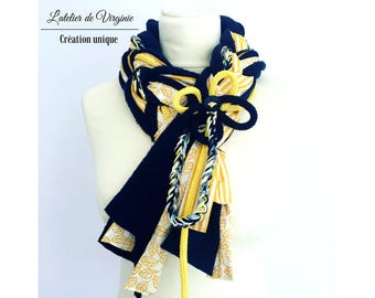 Scarf, neckband, braided, in navy yellow fleece, wool, fancy cotton. Fashion accessory, original, colorful, unique. Bohemian Style