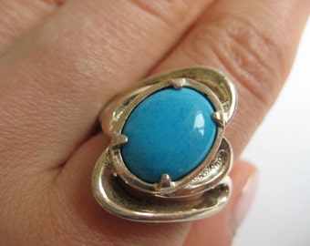 Mexico vintage Blue Turquoise sterling silver Ring size 7