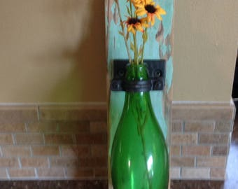 Rustic Vintage Green Bottle Sconce