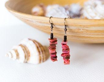 Pink shell earrings, salmon pink seashell earrings, long pink earrings, pink stone earrings, pink beach earrings, tropical earrings, boho