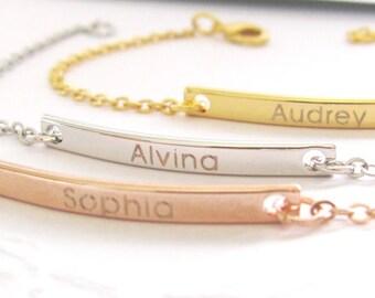 Engraved Name Plate Bracelet in Gold Plated, Silver Plated or Rose Gold Bar Bracelet